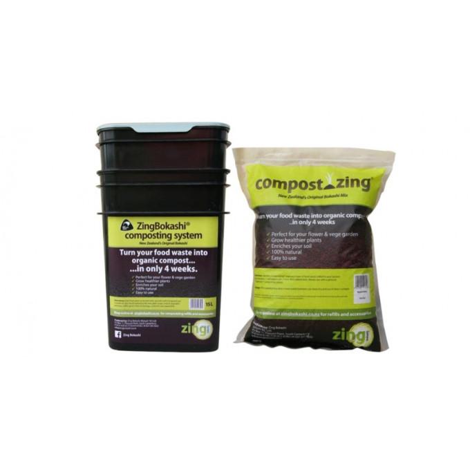 Bokashi Starter Kit, 15 Litre System and 1 Bag of Compost-Zing